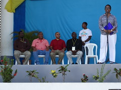 (L-R) Troy Smith, Valuation Manager, Belize City Council; Councilor Michael Theus, Ministry of Economic Development; Mayor Darrell Bradley, Belize City Council; Ralston Frazer, Deputy Mayor of Belmopan; Dr. Cassandra Rogers, Country Representative, Inter-
