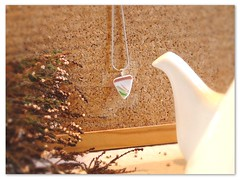 Red, white and green unique triangle-shaped ceramic / broken china pendant. Unique upcycled porcelain jewelry.