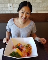 My petite friend Cyn can practically take a bath in the Chirashi Sushi bowl she had for lunch. ;-)