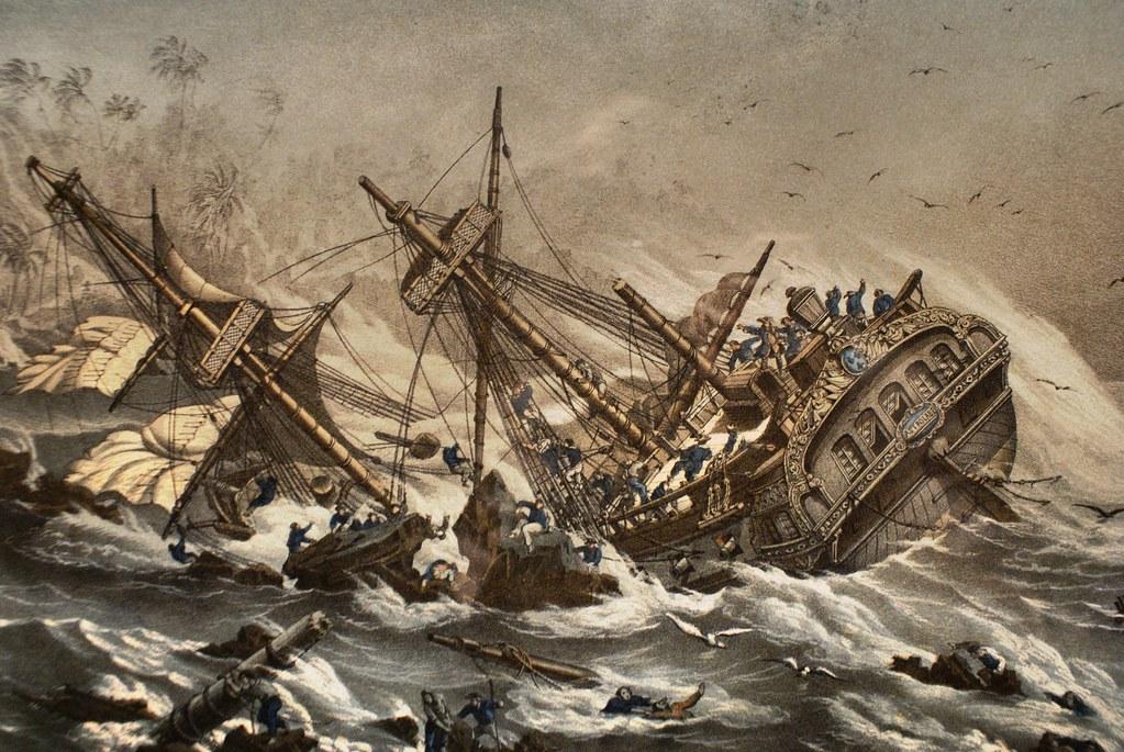 Tableau d'un naufrage d'un voilier au musée de la mer à Gênes.