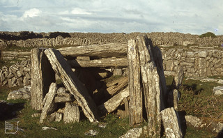 Megalithic wedge tomb from 2000BC - from late Neolithic. Big stone coffin from Inishmore 1979