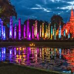 Image of Wat Mahathat. thailand sukhothai sukhothaihistoricalpark lightshow watmahathat