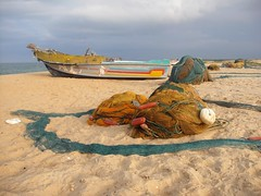 Fishing nets resting in beach