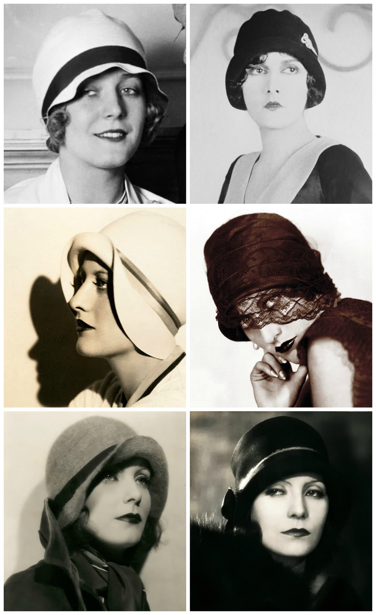 1920s Actresses. Top Row: Vilma Banky, Evelyn Brent; Middle Row: Joan Crawford; Bottom Row: Greta Garbo