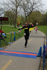 Bat Girl on the finish line