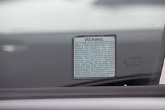 California Proposition 65 (Prop 65) Warning on Car Window