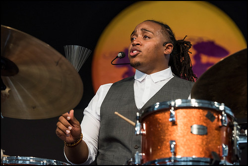 Jamison Ross during Jazz Fest day 7 on May 7, 2017. Photo by Ryan Hodgson-Rigsbee www.rhrphoto.com