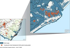 Figure 4: Hurricane Sandy Storm Surge and Department of Housing and Urban Development (HUD) Public-Housing Assets around Atlantic City, New Jersey