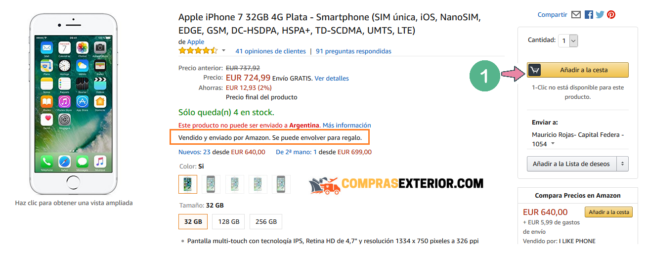 Comprar el Iphone 7 en amazon con envio a la argentina