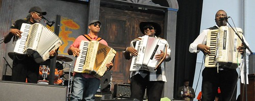 Tribute to Buckwheat Zydeco featuring Nathan Williams, C.J. Chenier, Corey Ledet, and the Ils Sont Partis Band on Day 6 of Jazz Fest - May 6, 2017. Photo by Black Mold.