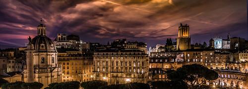 rome skyline night architecture cityscape piazza venezia italy