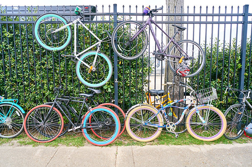 Bikes. Saturday, April 29, 2017 - Jazz Fest Day 2. Photo by Eli Mergel.
