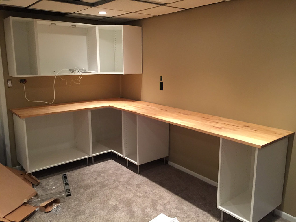 Butcher block countertop installation