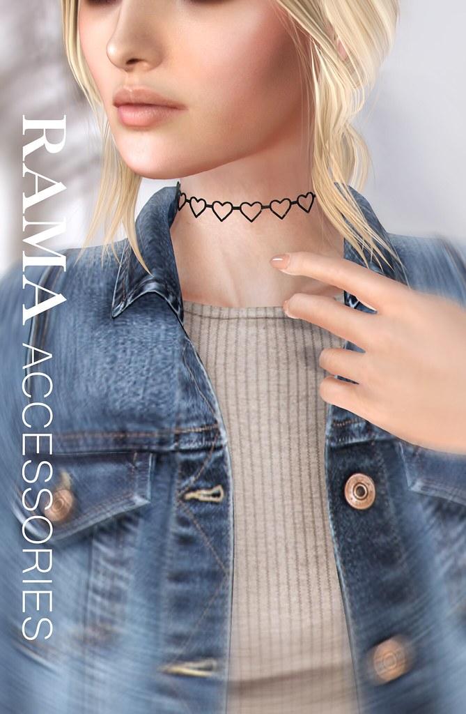 RAMA - Open Hearts Choker Necklace - SecondLifeHub.com