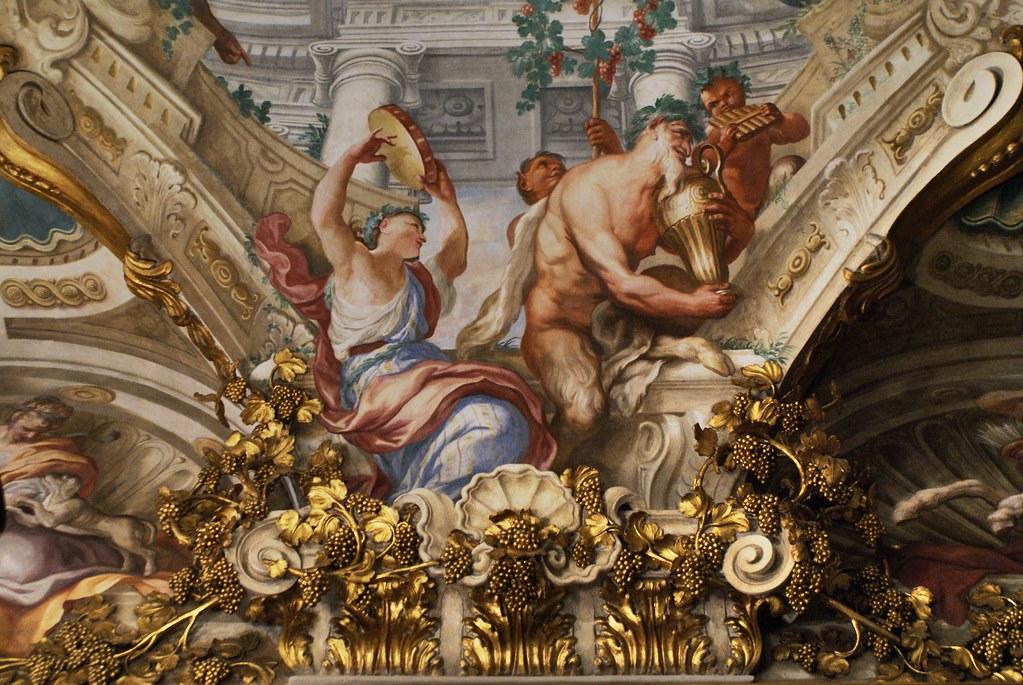 Fresque et moulure à la gloire de Bacchus au Palazzo Bianco à Gênes.