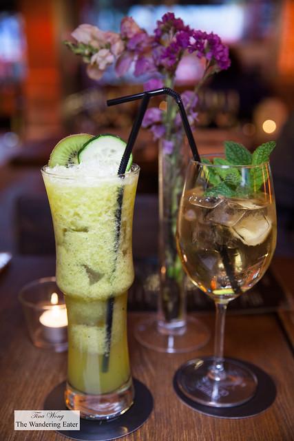 Lisboa A3 juice (kiwi, tangerine, cucumber and lemon) and White Port Tonic
