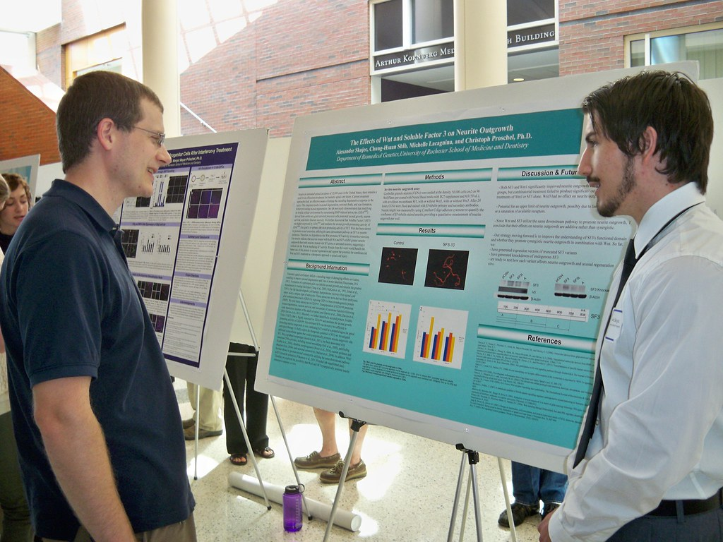 Alexander discusses poster with attendee