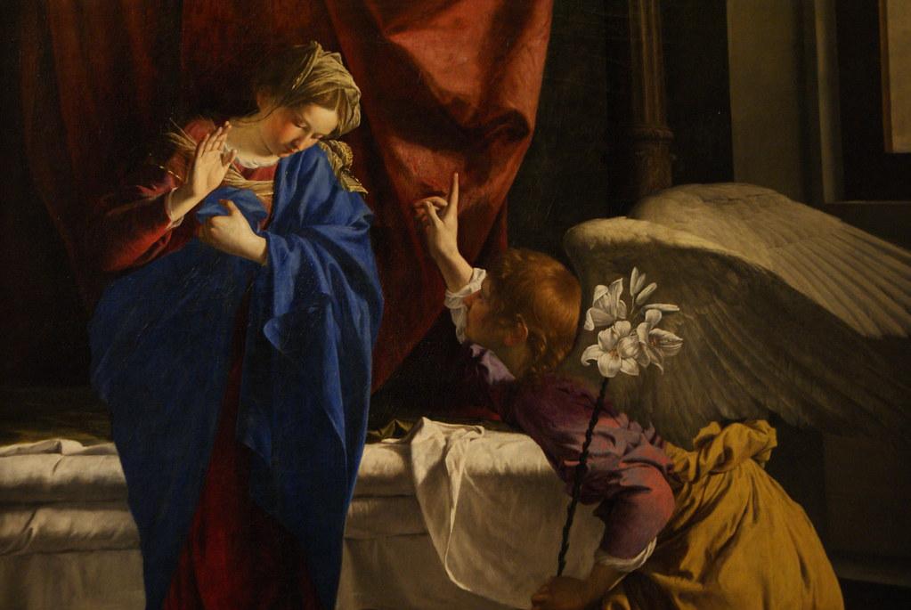 """L'Annonciation"" tableau d'Orazio Gentileschi à la Galleria Sabauda de Turin."