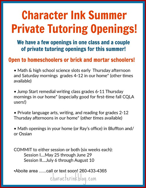 CI Summer Tutoring Openings 2017