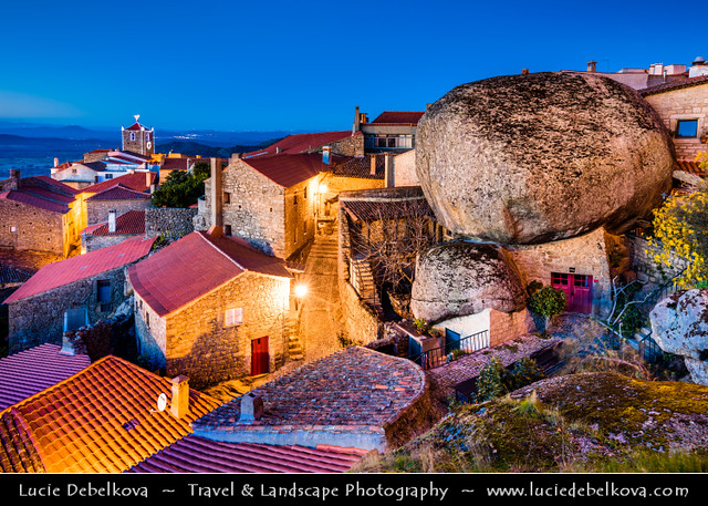 Portugal - Monsanto - Stunning Medieval Mountaintop Portuguese village at Dusk - Twilight - Blue Hour - Night