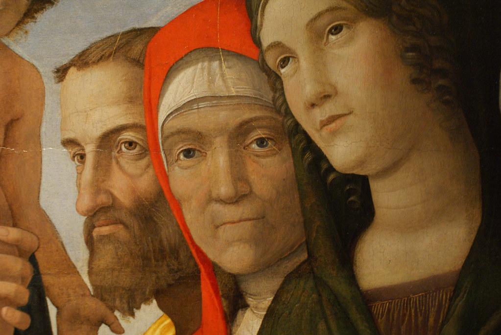 "> Détails ""Madonna con il bambino e sei santi"", tableau de Mantegna à la Galerie Saubada à Turin."
