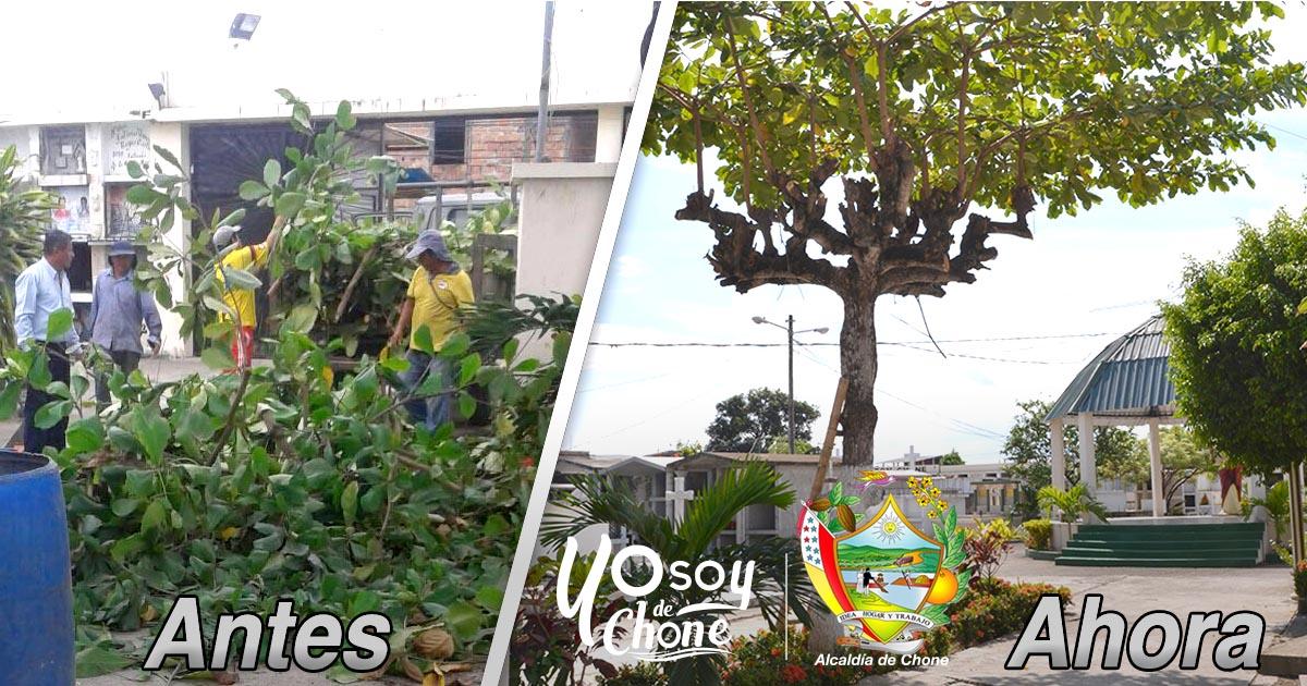 Alcaldía de Chone trabaja en limpieza de cementerios