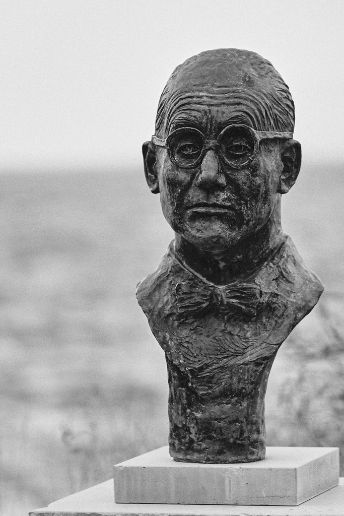 The bust of Le Corbusier in Roquebrune Cap Martin, where he lived and died