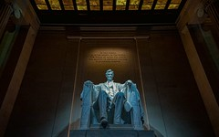 Inside the Abraham Lincoln Memorial.