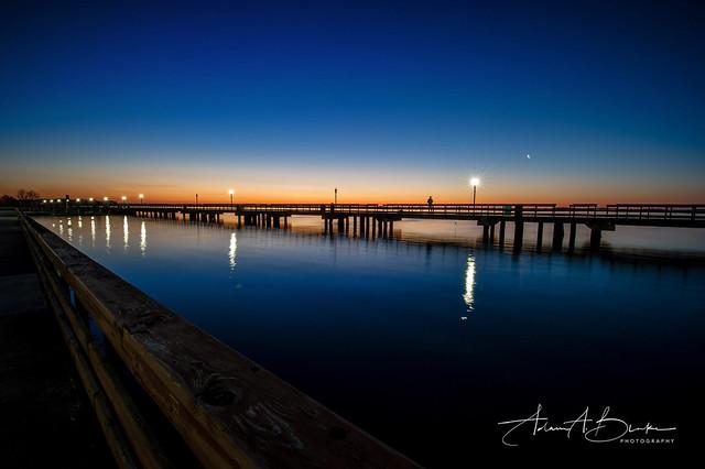 Bishop Park Pier Sunrise Fisherman w PHOTOLOGO