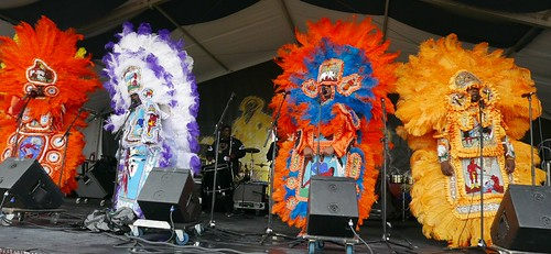 Big Chief Bird and the Young Hunters Mardi Gras Indians on the Jazz & Heritage Stage at Jazz Fest 2017 - May 4, 2017. Photo by Black Mold.