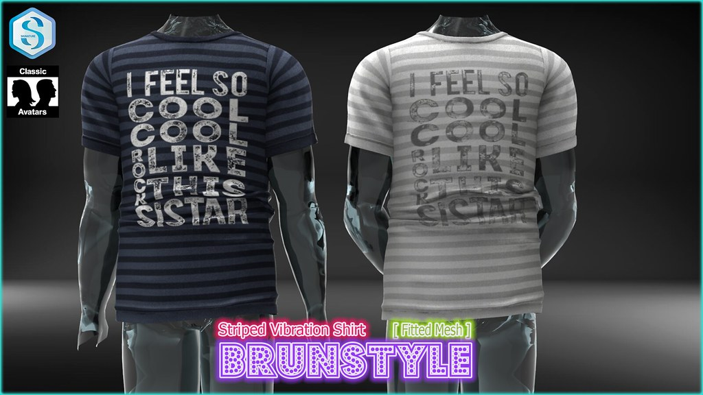 [BrunStyle] Striped Vibration Shirt (Fitted Mesh) - SecondLifeHub.com