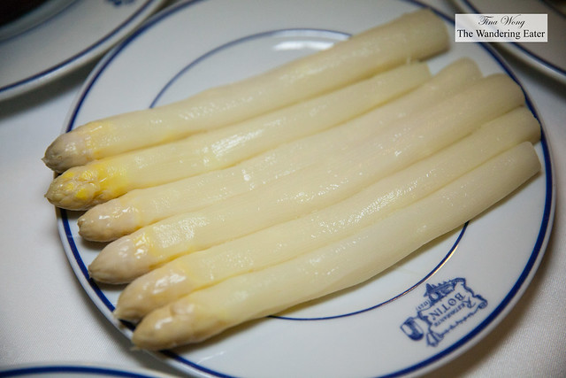 Blanched and cooled white asparagus