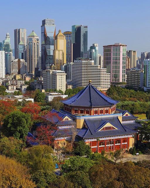 #canton #guangzhou #cityview #cityskyline #cityscape #highview #skylineview #skylines #skyscrapercity #skyline #skyscraper #spring #flower #广州 #中山纪念堂 #东风路 #cbd #china #木棉花