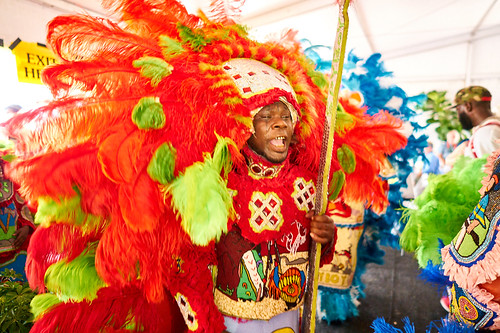 9th Ward Black Hatchets Mardi Gras Indians in the 'OZ Hospitality Tent.