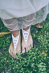 Crochet Barefoot Sandals i made for a debutant