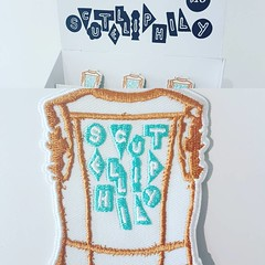 Under the direction of Zoë Schneider @000wow I designed this logo and embroidered patche which are for sale tonight at the closing reception for Zoës curated show  Scutelliphily at the Saskatchewan Craft Council Gallery (813 Broadway Avenue, Saskatoon,