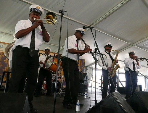 Paulin Brothers Brass Band in Economy Hall Tent on Day 4 Jazz Fest 2017 - May 4. Photo by Black Mold.