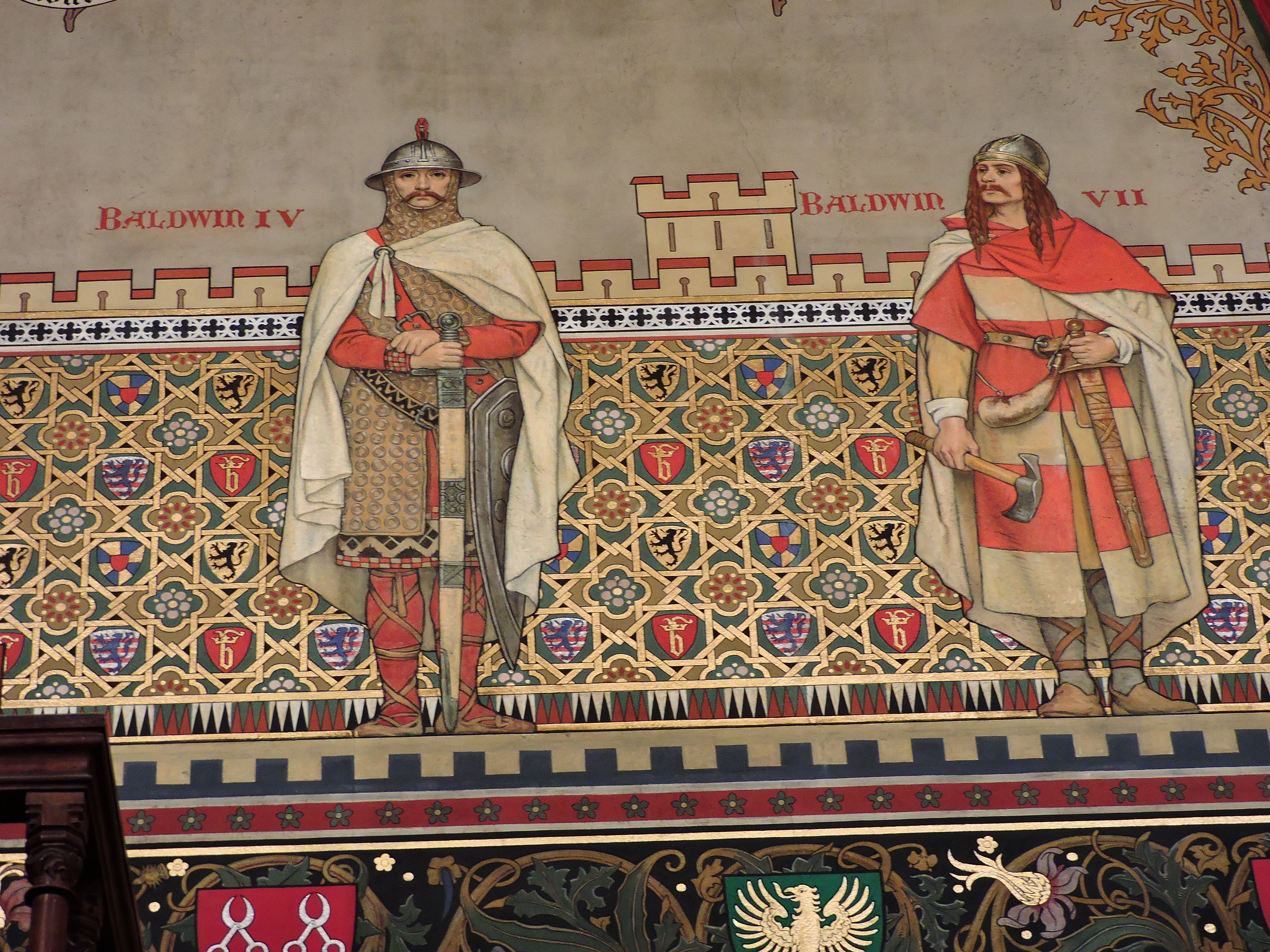 Baldwin IV & Baldwin VII, The Gothic Hall, City Hall (Stadhuis van Brugge), Burg sq., Bruges