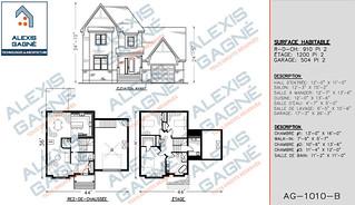 Plan de maison 2 étages avec garage - MM2eG.03