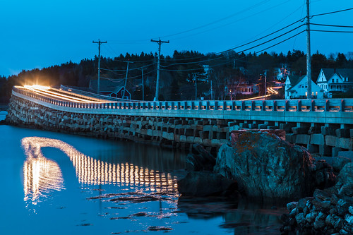 baileyisland orrsisland harpswell maine lighttrails bridge dark dusk cribstonebridge