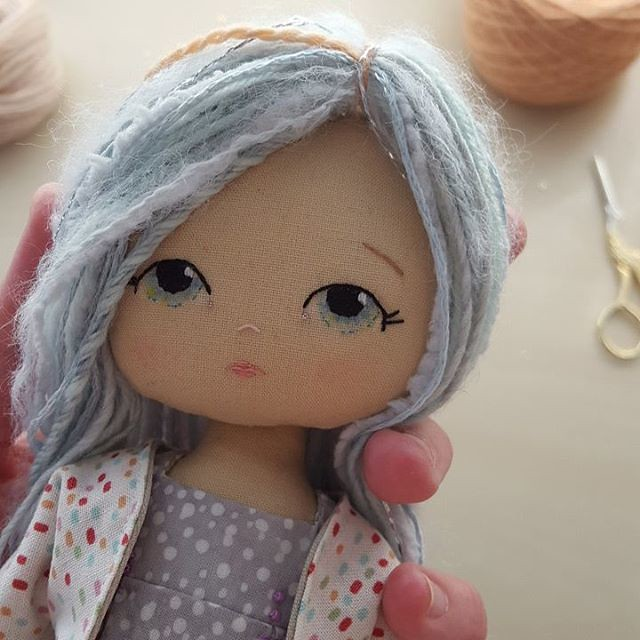 She's going to be hard to part with!! #gingermelon #dollmakers #clothdoll #handembroidery #doll #handmadedolls #fairfieldworld #prismacolor