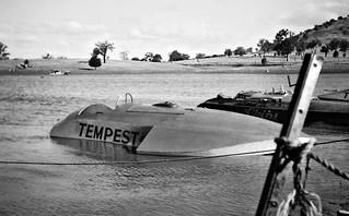 "Dec 1949 - Hydroplane speedboats ""Tempest"" and ""Chips"" on the Hume Dam, Bonegilla, Victoria, Australia"