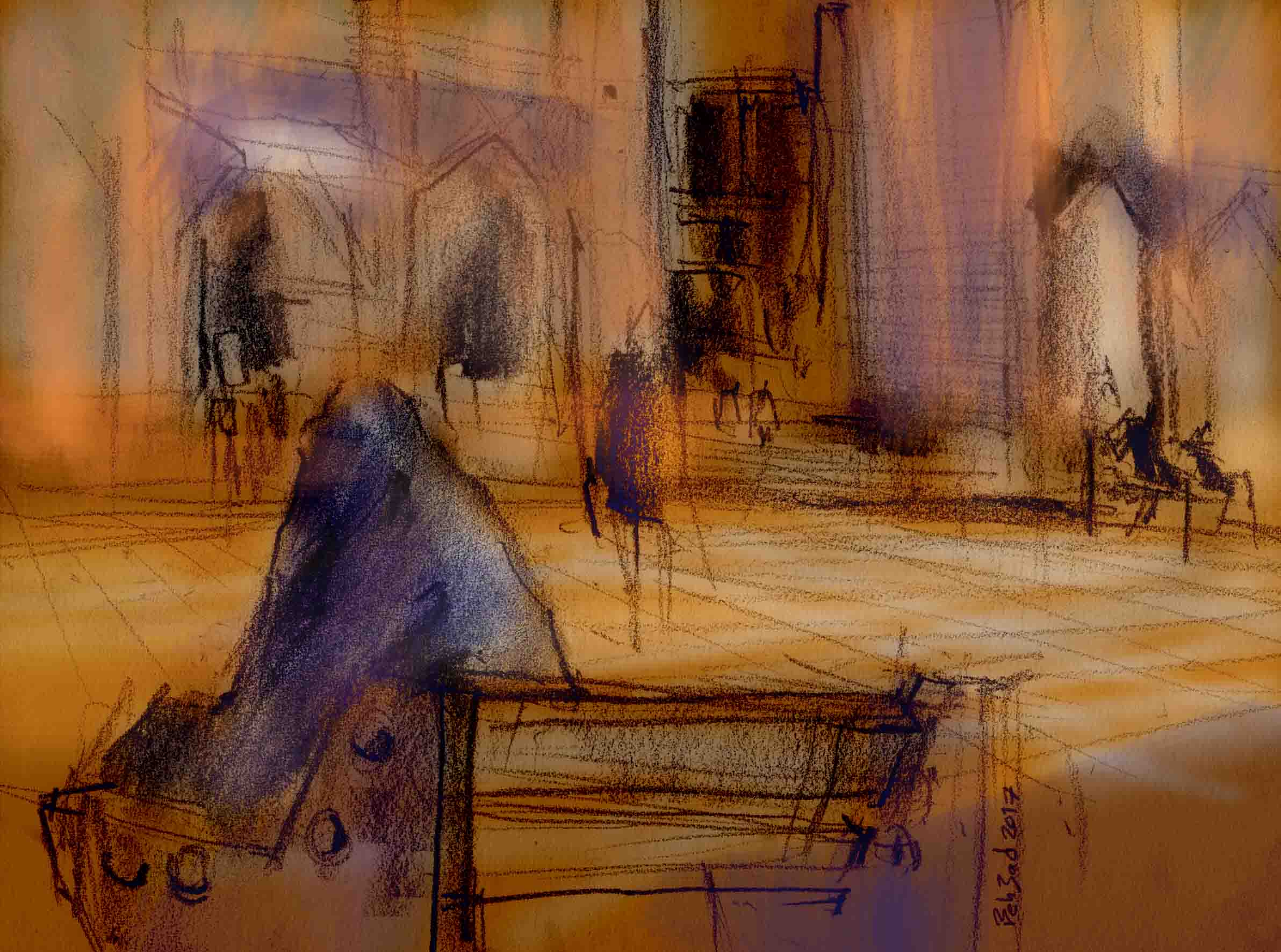 Sitting in the square | Urban Sketchers