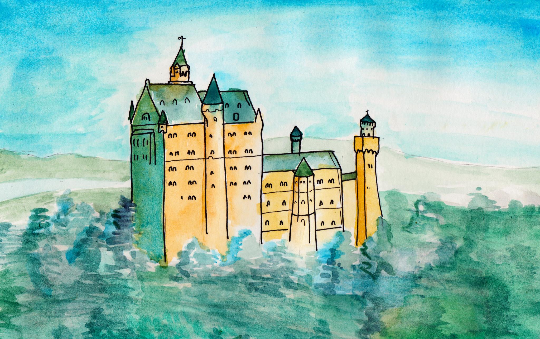Castle watercoloring