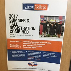 Students at Citrus College 👍Registration begins May 15,2017