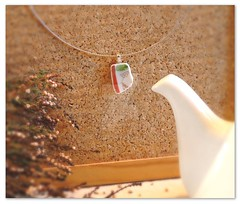 Red, white and green unique sleek ceramic / broken china pendant. Unique upcycled porcelain jewelry.