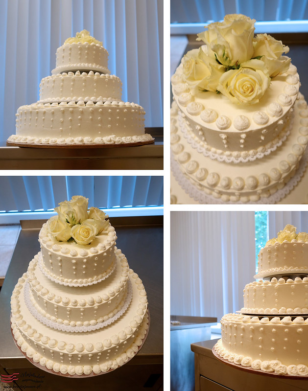 Picture of a wedding cake from different angles