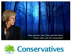 Conservatives campaign poster with the elusive Theresa May