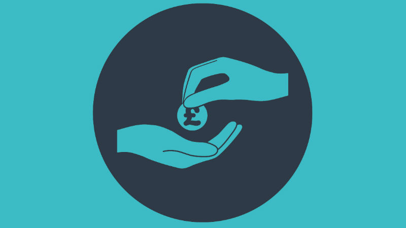 An illustration of one hand giving a coin to another hand.