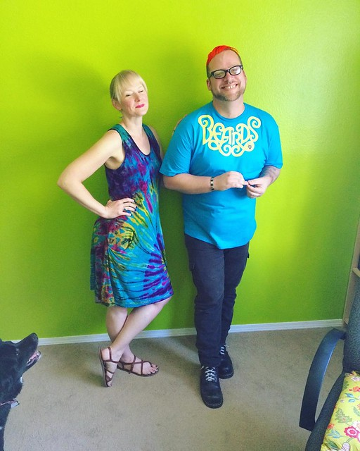 Tbt: color-coordinating with @dubtrance, October 2015. 💚🌈✨